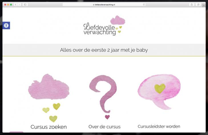 Screenshot homepagina van Liefdevolle verwachting [desktop]
