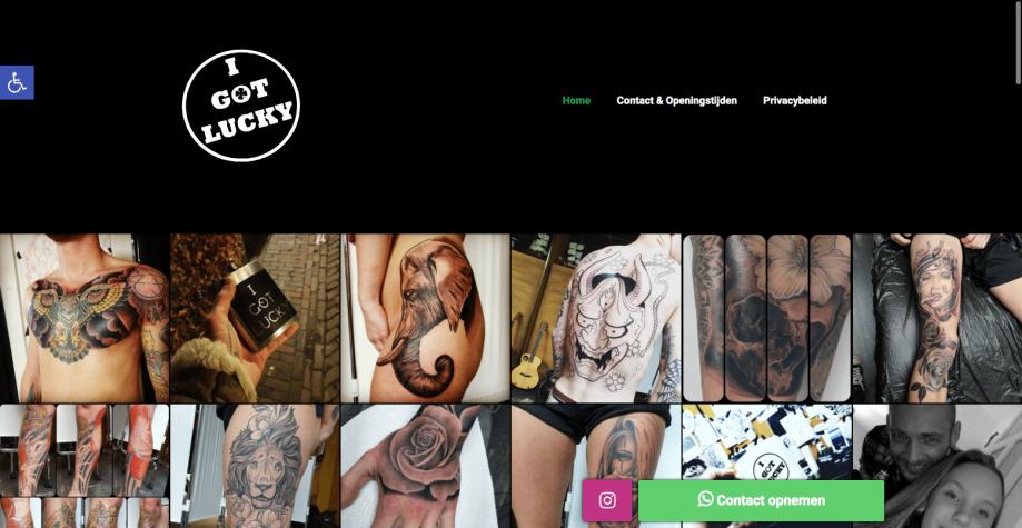 Homepagina (Desktop) - I Got Lucky Tattoo