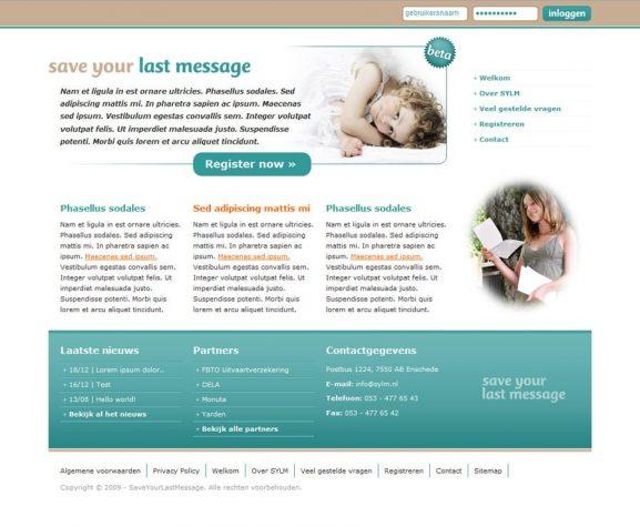 Indexpagina ontwerp voor Save Your Last Message